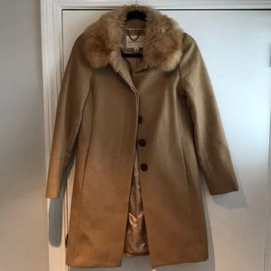 Camel Colored Pea Coat with Fur Collar